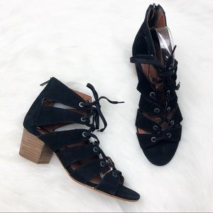 Lucky Brand Black Lace Up Heeled Sandals Size 8
